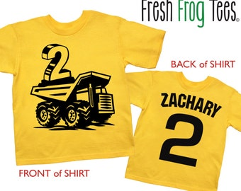 Dump Truck Shirt Personalized Construction Building Birthday Shirt - any age and name - pick your colors!