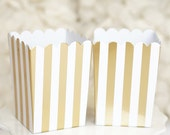 10 Gold Striped Birthday Wedding Bridal Shower Chic Party Popcorn Treat Favor Boxes