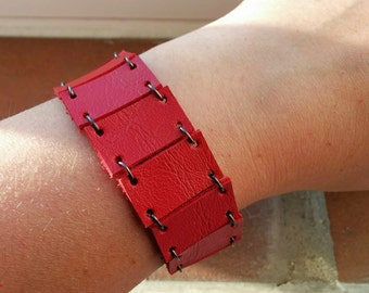 Red cuff,red leather cuff,red bracelet,red leather bracelet,wide bracelet,wide red cuff,asymmetric bracelet,asymmetric cuff,red wide cuff