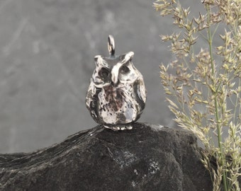 Owl Pendant 'Frank' Owl, bird, sterling silver charm,