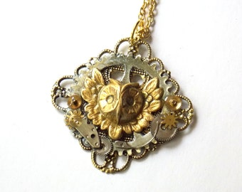 """Steampunk Necklace """"The Owl of Minerva"""""""