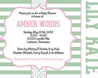 Mint and Pink Baby Shower Invitation-Monilove Designs