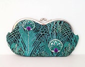 Peacock pattern large sunglass case, small clutch, purple, turquoise, emerald green