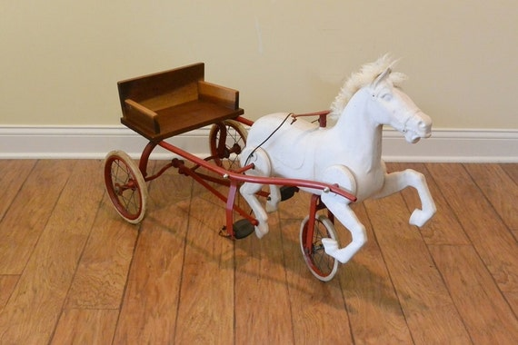Antique English Child S Ride On Sulky Horse And Buggy