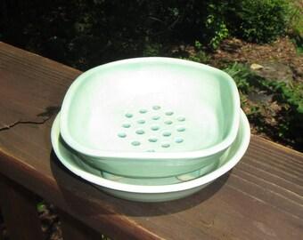 Ceramic Soap Dish and Plate, Soap Holder,  Wheel Thrown Soap Dish Set - Aqua Green Glaze
