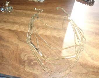 vintage necklace multi strand chain goldtone