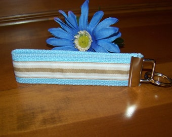 Wristlet Key Fob Key Chain - Light Blue with Tan, White and Light Blue Stripes