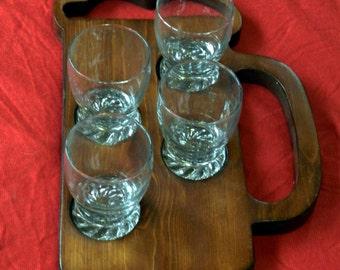 Beer Mug beer sampler tray with 5 oz glasses.