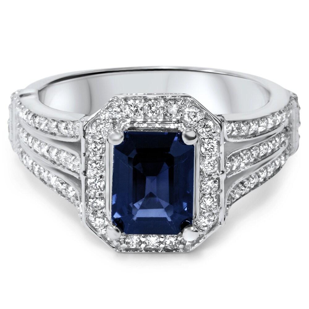 emerald genuine blue sapphire and diamond halo ring. Black Bedroom Furniture Sets. Home Design Ideas