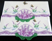 Pair 40s Pillowcases Water Lily Pads Lavender 250a