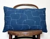 Blue Recycled Vintage Decorative Pillow Cover. Subtle Geometric Minimalist Design.