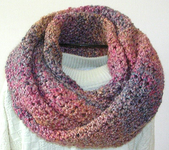 Crochet Infinity Scarf - Bulky Crochet Cowl Neckwarmer - Women's Accessories - Winter Scarf in Pink, Blues