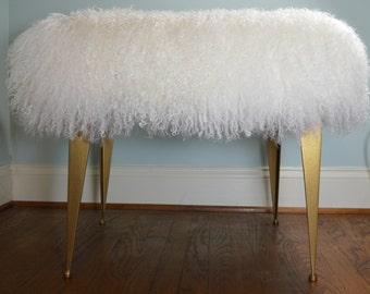 Mongolian Lamb Bench Stool Footstool Ottoman Tibet Wool Fur New Gold legs Sheepskin