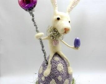 SALE Fairy Tale White Easter Bunny wool needle felted Vintage German inspired Alice Wonderland Easter  Egg -Everettr