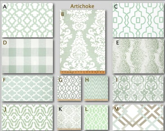 Custom Baby Crib Bedding- Design Your Own Modern Bedding- Dorm Bedding- Glider/Rocker cushions- Artichoke- Green