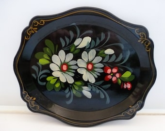Black Lacquered Tray made in Russia Flowered Black Lacquered Small Tray