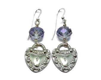 Kept heart lock and faceted purple luster shade glass earrings - sterling silver filled earwires - celebrity gift bag design - love earrings