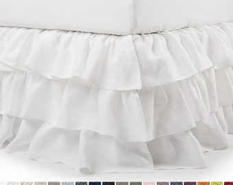 Queen bedskirt Linen bed skirt King Double Full or Twin size bedding White bedskirt with three ruffles Custom color and length