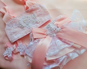 Girl Pink Lace Ruffled Bloomer set Cake smash Outfit