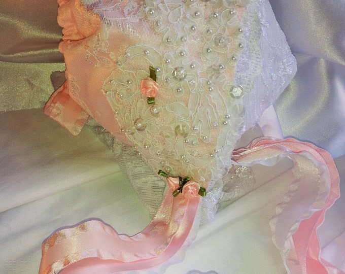 Newborn Baby Girl Pink Lace Heirloom Baby Bonnet
