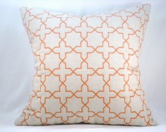 Orange Embroidered Pillow Quilted Pillow Decorative Accent Pillow Toss Pillow 18x18 Pillow Cover