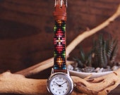 BLW-01,Native American inspired hand-beaded genuine leather watch