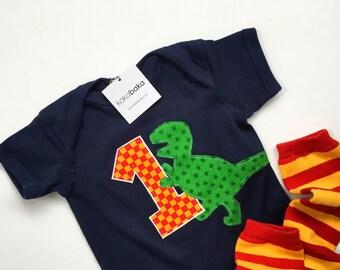 Dinosaur first birthday outfit, T. rex shirt