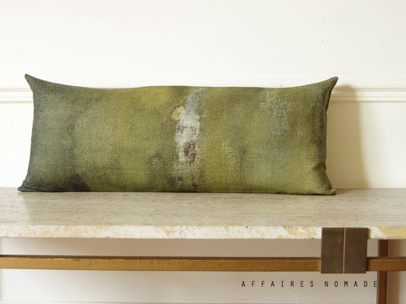 Khaki lumbar pillow case. Linen long pillow. Bring nature in, ... On the stump /  FRAGMENTS. Natural decor