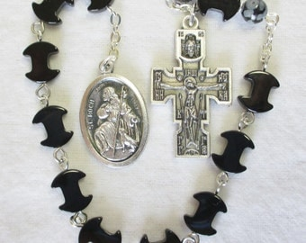 Handmade Catholic Tenner Single Decade Rosary, St Roch St Rocco, Dogbone Black Onyx Gemstone Beads, Double Sided Orthodox Crucifix