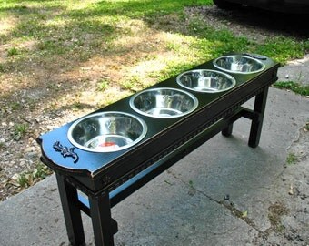 Raised Dog Bowl Pet Feeder 2 Quart Stainless Steel Bowls, Black Distressed Four Bowl Elevated Feeder, Pet Stand For Large Dogs Made To Order