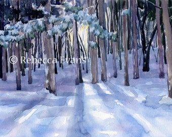 Illustration Art Print of Forest in winter 13x19