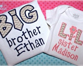 BIG brother little sister sibling shirt announcement