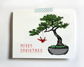 Bonsai Tree Christmas Card - hand drawn