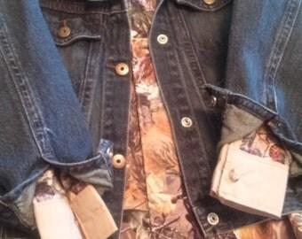 Camo shirt with denim jacket