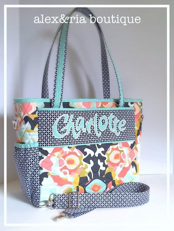 Handmade Diaper Bags : Items similar to custom diaper bag coral navy mint white
