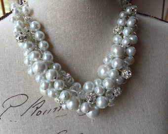Chunky white Pearl necklace, rhinestone and crystal, bridal cluster necklace, white cluster necklace