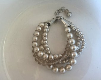 4 strand bracelet in champagne pearls and crystals, bridesmaid jewelry, wedding jewelry