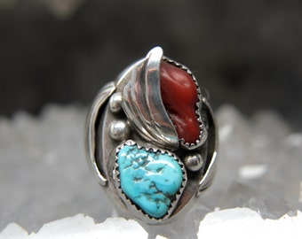 Men's Turquoise and Coral Ring. Sterling Silver Vintage Native American Navajo Jewelry. Father's day gift dad present man ring.