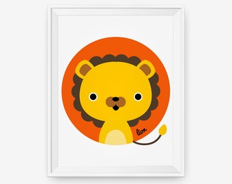 Lion Print for nursery, Baby cute jungle animal wall art, Children decor animal for kids rooms