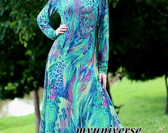 Long Sleeves Dress Elegant Dress Maxi Dress Green Dress Party Coast Peacock