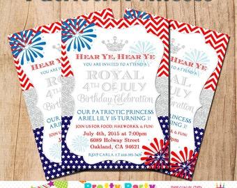 PATRIOTIC PRINCESS invitation - YOU Print - birthday or baby shower