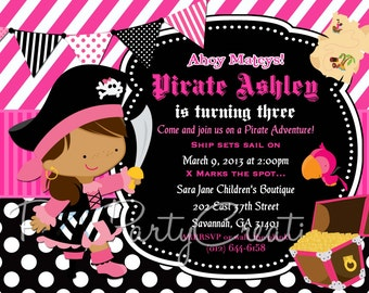 LITTLE PIRATE GIRL invitation with or without photo - 3 to choose