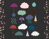 Cute Cloud Clipart, Cloud and Rain Digital Clipart, Digital Clouds, Digital Rain Image, Umbrella Clipart, Rain Images, Cute Cloud Images