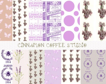 Lavender Digital Papers, Cute Purple Floral Backgrounds, French Lavender Texture, Lilac Scrapbooking Digital Paper Pack