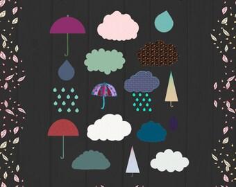 Cute Cloud Clipart, Cloud and Rain Digital Clipart, Digital Clouds, Digital Rain Image, Umbrella Clipart, Rain Images, Cute Cloud Images