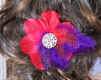 Red and Purple Feather Hair Fascinator Adornmetn With Rhinestone Center