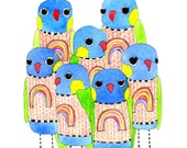 Kids Wall Art, Kids Art,  Pandemonium - Rainbow Lorikeet Print - Limited Edition 8x10 Print by Jennie Deane