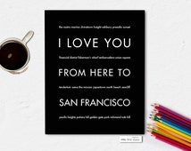 Gift Idea for Parents, San Francisco California Art Print, I Love You From Here To SAN FRANCISCO, Shown in Black, Canvas Frame
