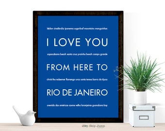 Travel Poster Brazil Rio De Janeiro Print I Love You From Here To