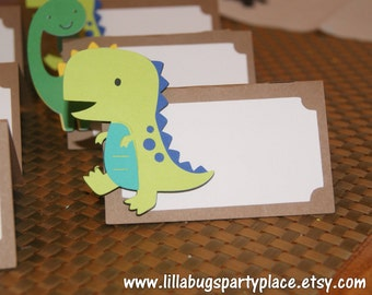 Boy Dinosaur Place Cards Food Buffet Labels